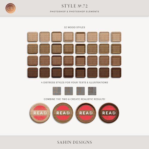 Wood & Distress Photoshop Layer Styles - Sahin Designs - CU Digital Scrapbook