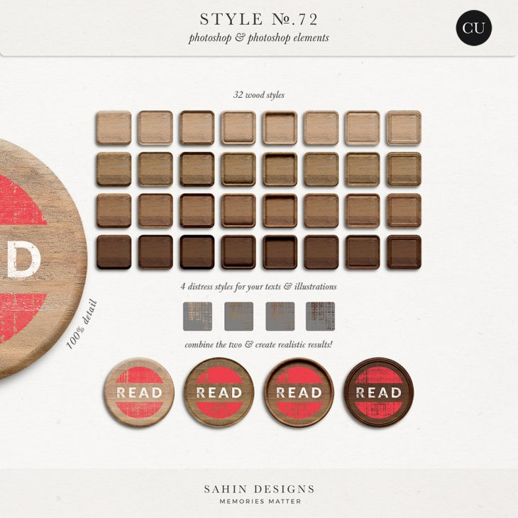 Wood & Distress Photoshop Layer Styles - Sahin Designs - CU Digital Scrapbook
