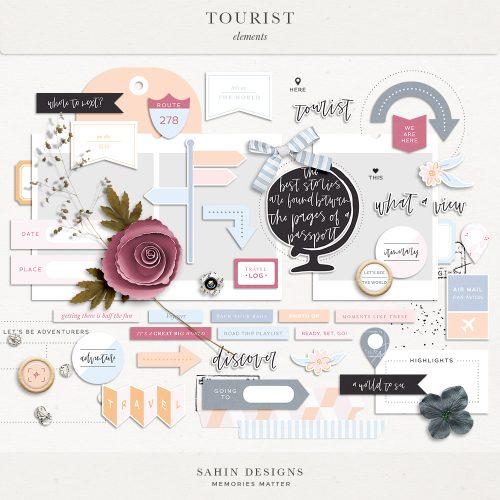 Tourist Digital Scrapbook Elements - Sahin Designs
