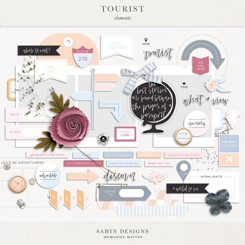 Tourist Digital Scrapbook Elements - Sahin Designs