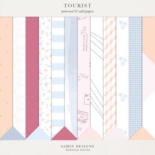 Tourist Digital Scrapbook Papers - Sahin Designs