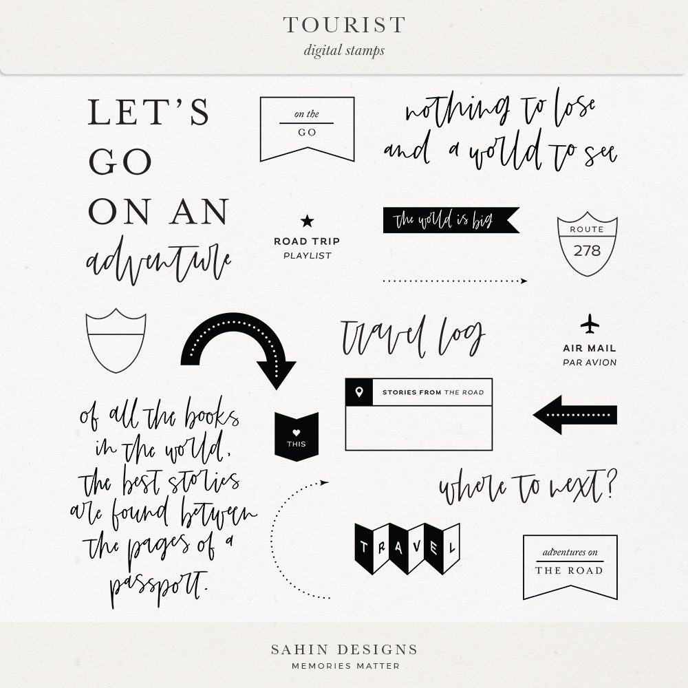Tourist Digital Scrapbook Stamps - Sahin Designs