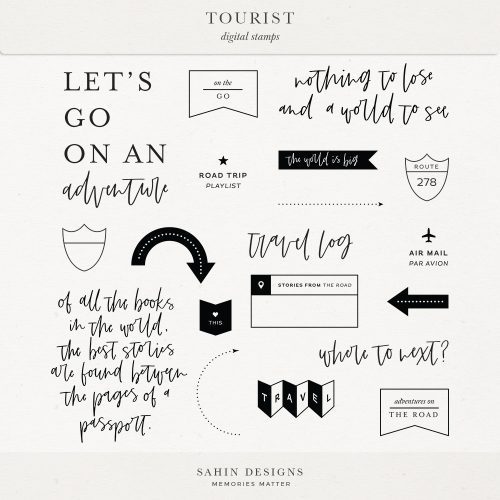 Tourist Digital Scrapbook Stamps - Sahin Designs