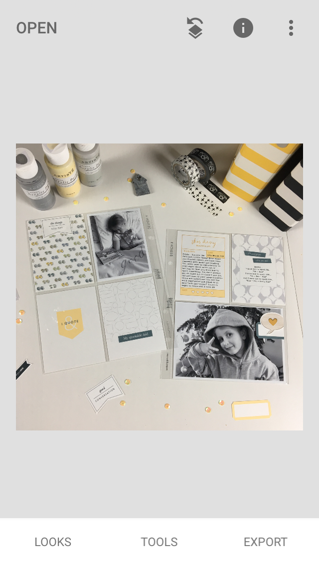 How to edit scrapbook layout photographs with your phone