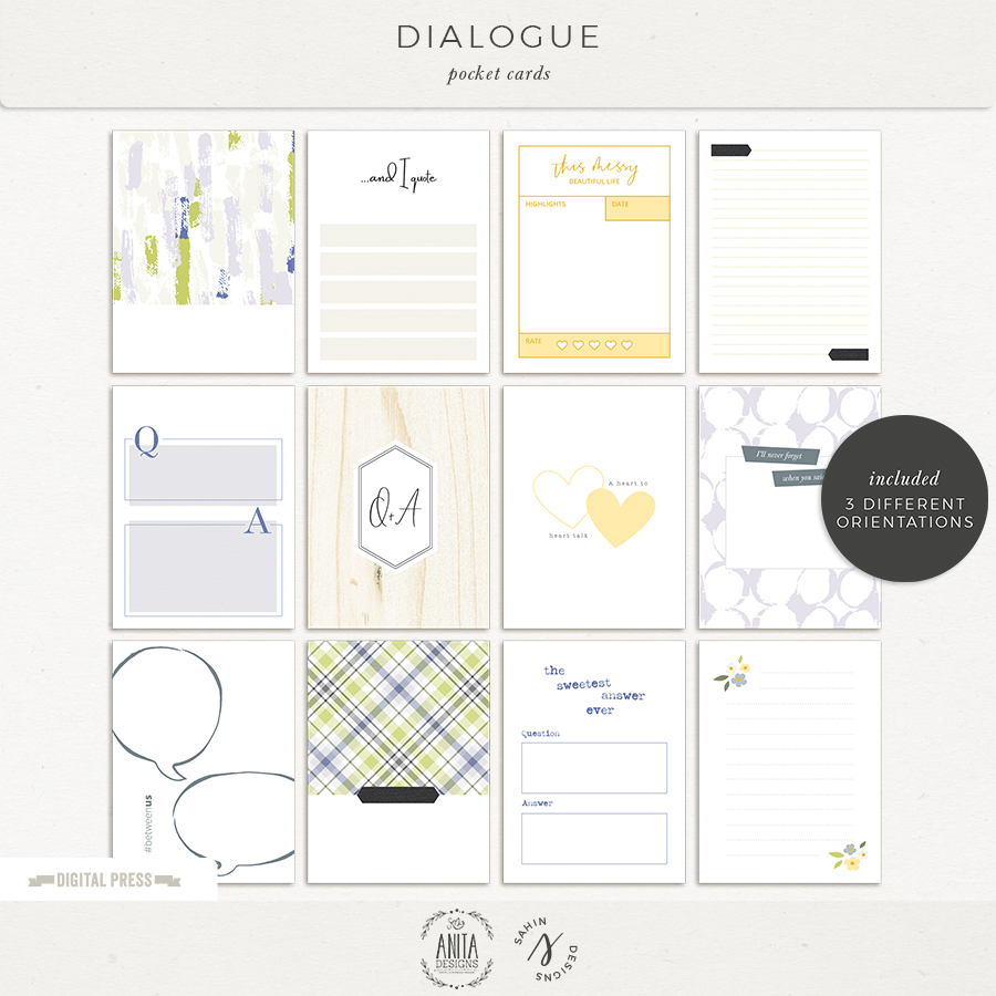 Dialogue Digital Scrapbook Printable Pocket Cards- Sahin Designs