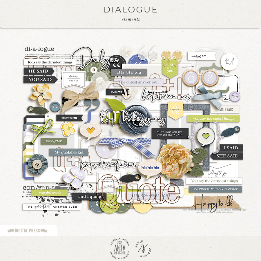 Dialogue Digital Scrapbook Elements- Sahin Designs