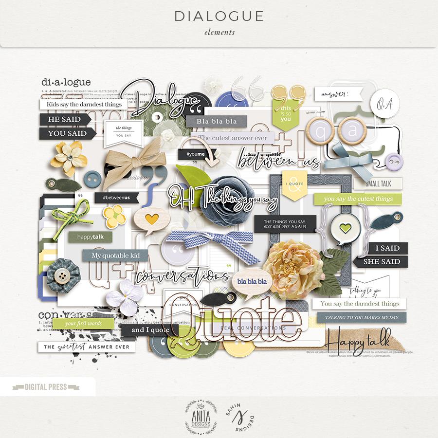 Dialogue Digital Scrapbook Elements- Sahin Designs