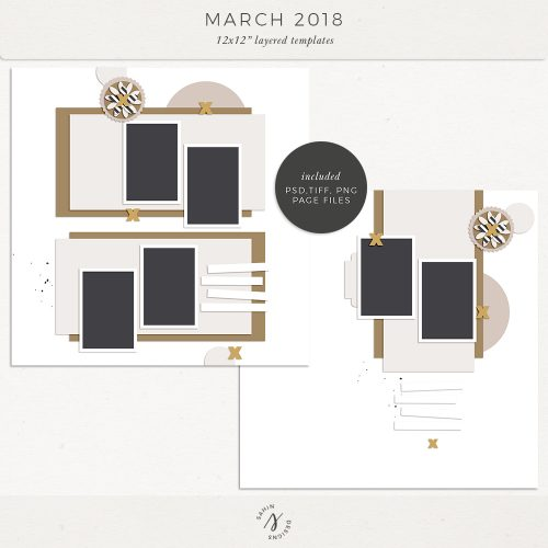 March 2018 Digital Scrapbook Layout Templates/Sketches - Sahin Designs