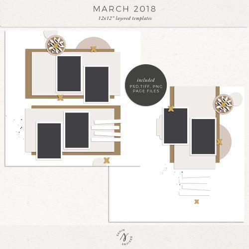 March 2018 Digital Scrapbook Layout Templates/Sketches - Sahin Designs
