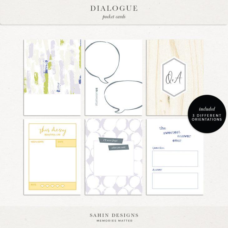 Dialogue Digital Scrapbook Printable Pocket Cards- Sahin Designs