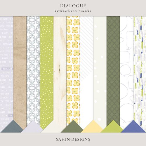 Dialogue Digital Scrapbook Papers - Sahin Designs