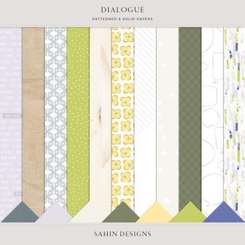 Dialogue Digital Scrapbook Papers - Sahin Designs