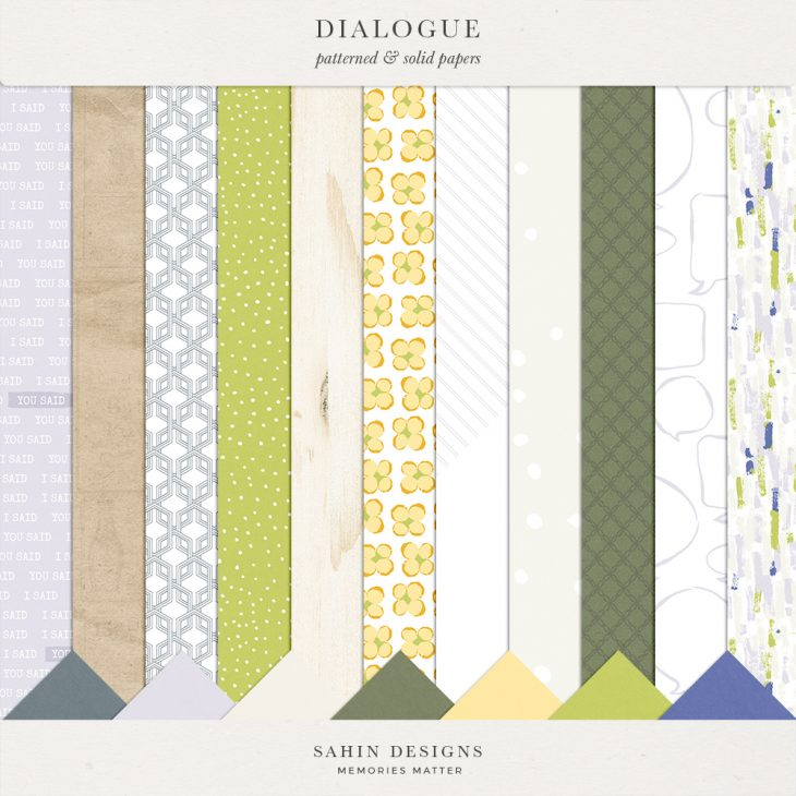 Dialogue Digital Scrapbook Paper - Sahin Designs