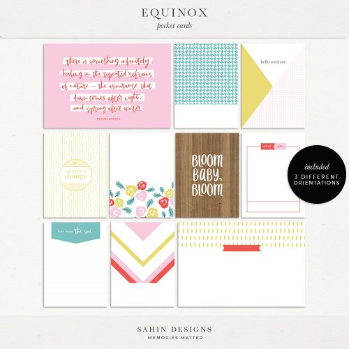 Equinox Printable Pocket Cards - Sahin Designs