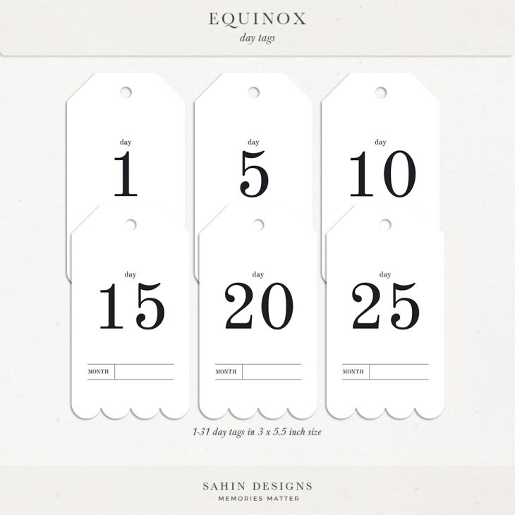 Equinox Digital Scrapbook Day Tags - Sahin Designs