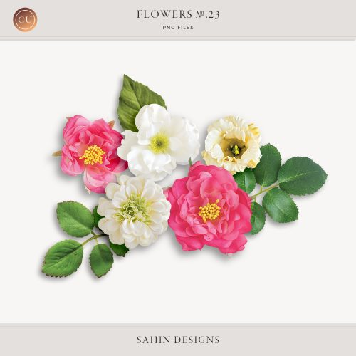Extracted fabric flowers and leaves - Sahin Designs - CU Digital Scrapbook