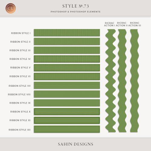 Ribbon Photoshop layer styles and ricrac actions - Sahin Designs - CU Digital Scrapbook