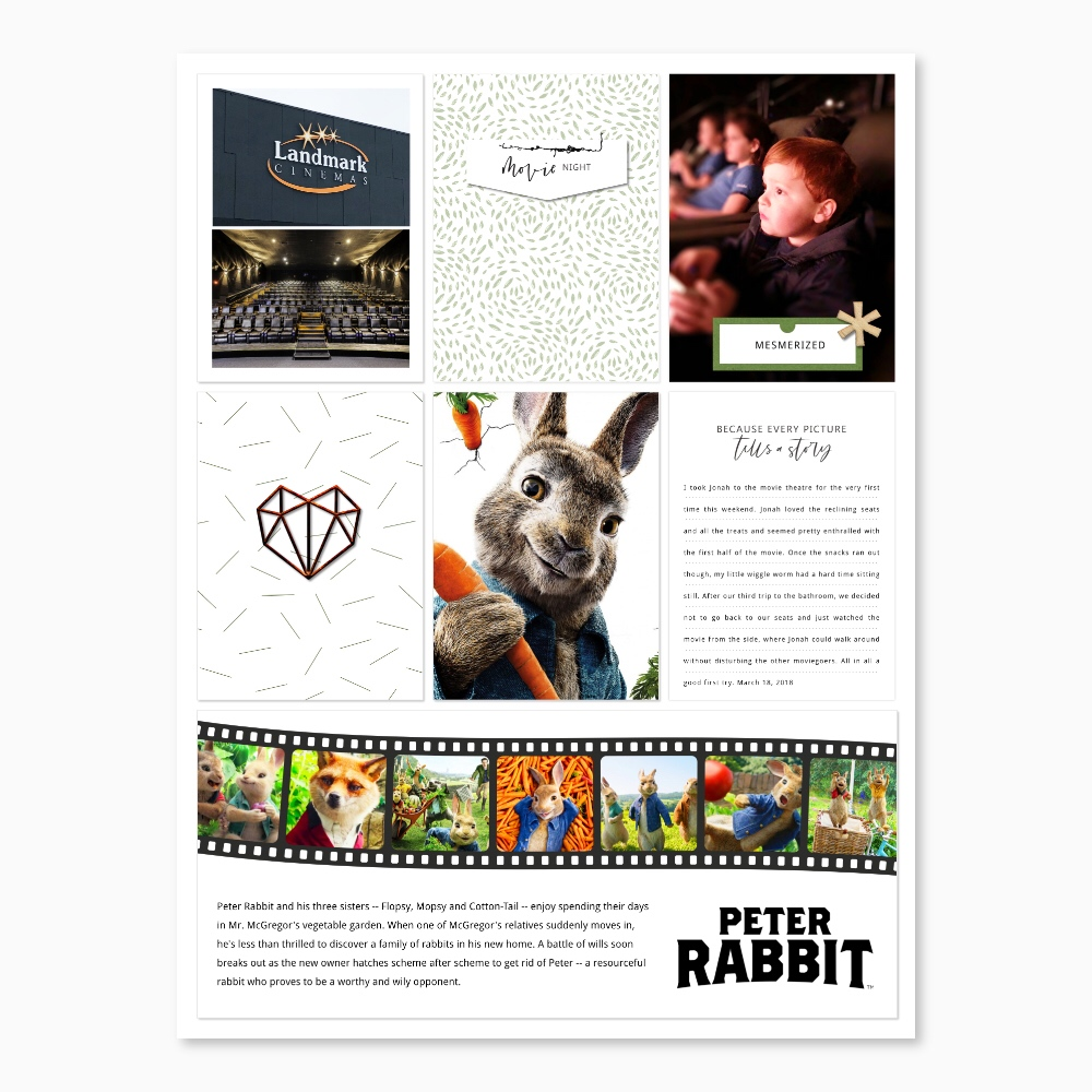 Movie digital pocket scrapbook layout - Sahin Designs