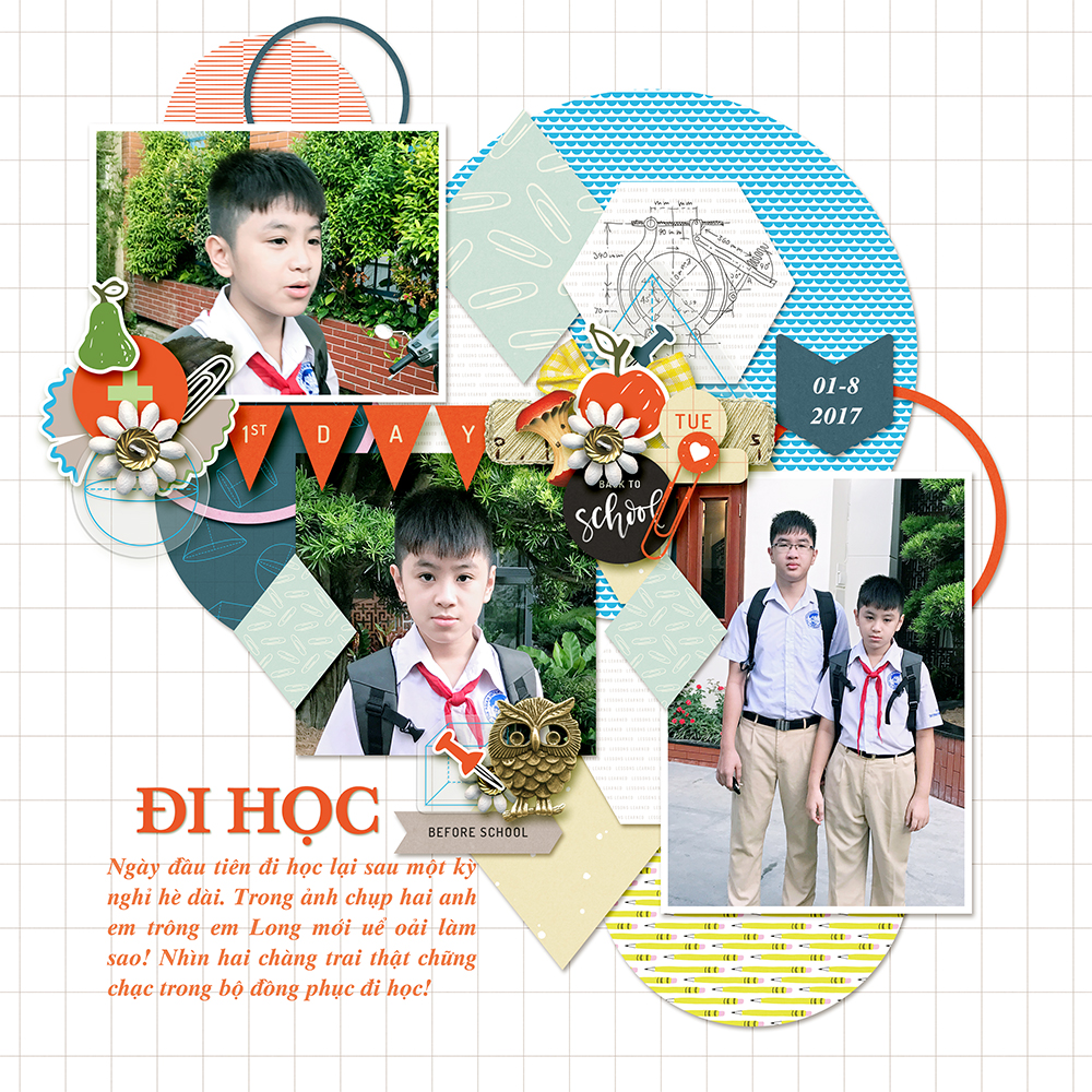 School digital scrapbook layout - Sahin Designs
