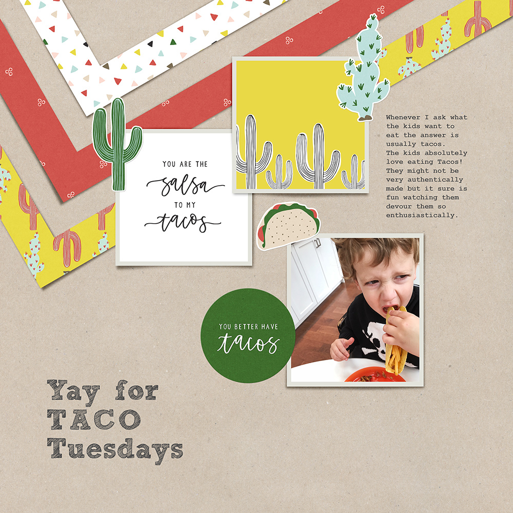 Food digital pocket scrapbook layout - Sahin Designs