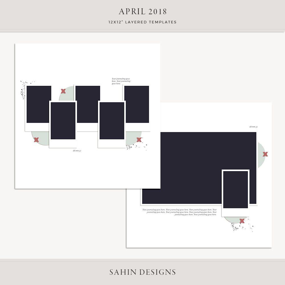 April 2018 Digital Scrapbook Layout Template/Sketch - Sahin Designs