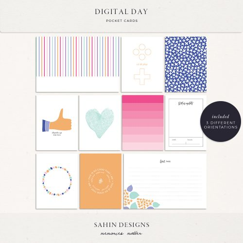 Digital Day Printable Pocket Cards - Sahin Designs