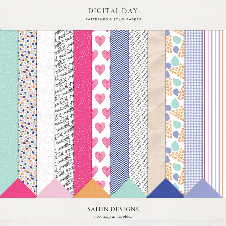 Digital Day Digital Scrapbook Papers - Sahin Designs