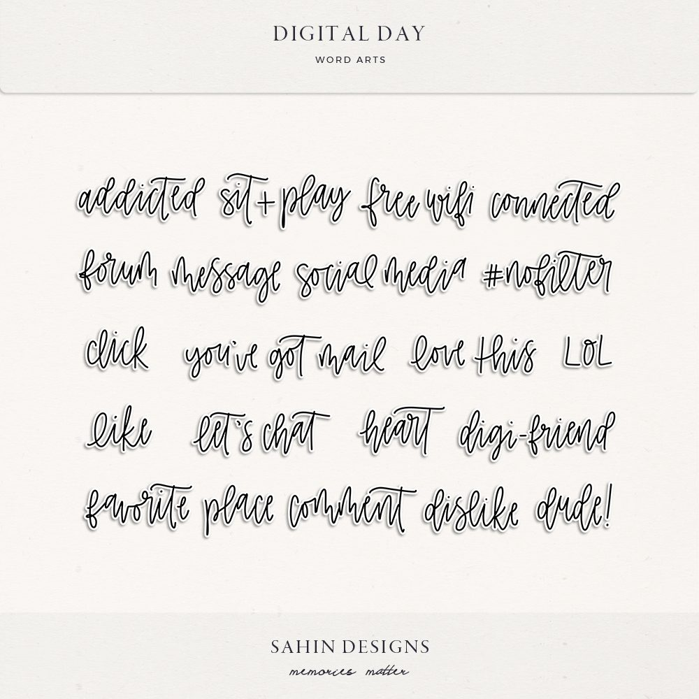 Digital Day Digital Scrapbook Wordarts - Sahin Designs