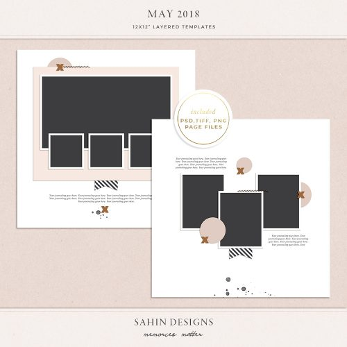 May 2018 Digital Scrapbook Layout Templates/Sketches - Sahin Designs