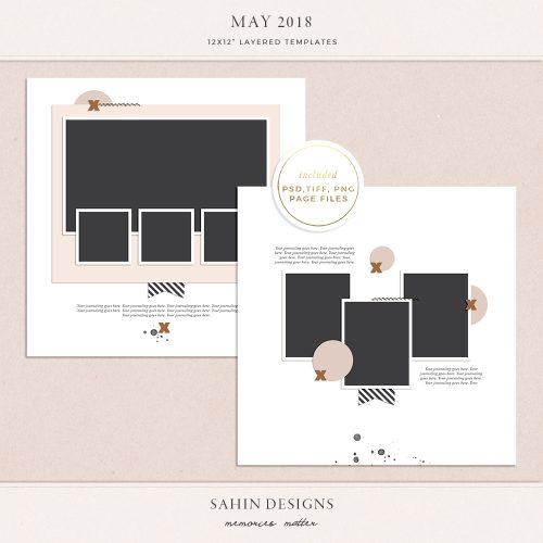 May 2018 Digital Scrapbook Layout Templates/Sketches - Sahin Designs