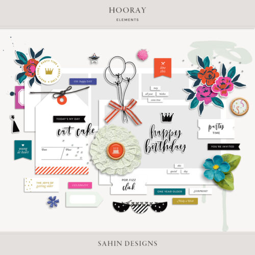 Hooray Digital Scrapbook Elements - Sahin Designs