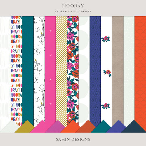 Hooray Digital Scrapbook Papers - Sahin Designs