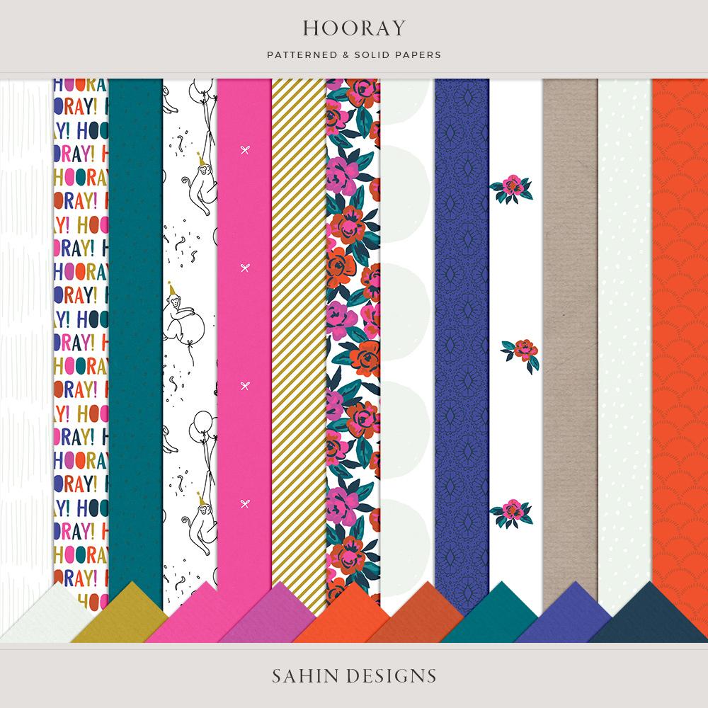 Hooray Digital Scrapbook Papers - Sahin Designs