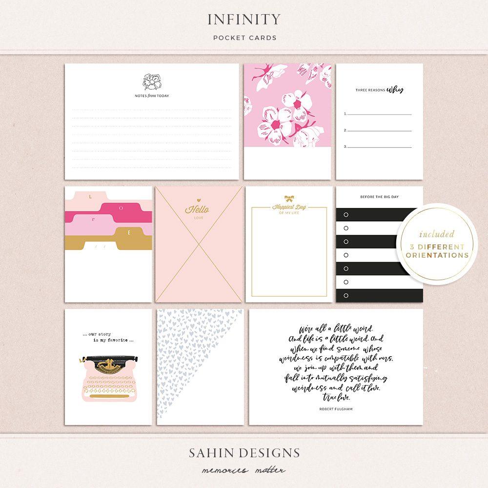 Infinity Printable Pocket Scrapbook Cards - Sahin Designs
