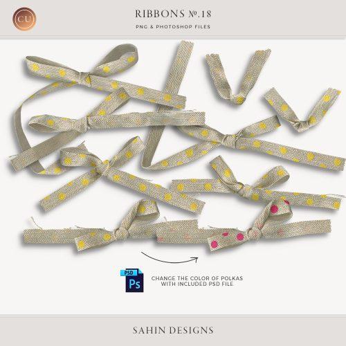 Extracted burlap polka dot ribbons - Sahin Designs - CU Digital Scrapbook