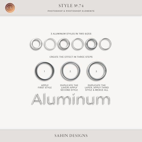 Aluminum Photoshop Layer Styles - Sahin Designs - CU Digital Scrapbooking