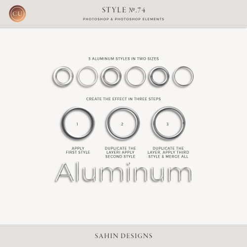 Aluminum Photoshop Layer Styles - Sahin Designs - CU Digital Scrapbooking