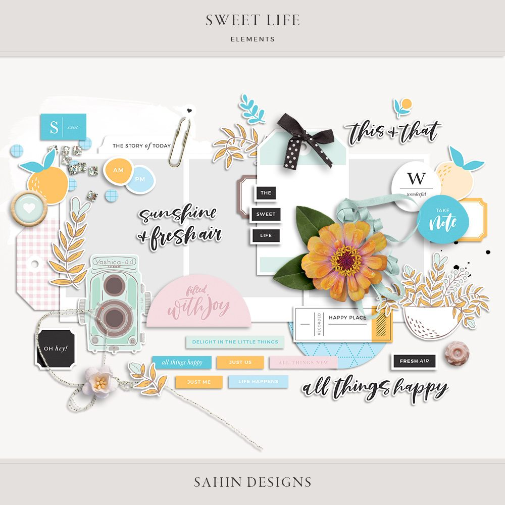 Sweet Life Digital Scrapbook Elements - Sahin Designs