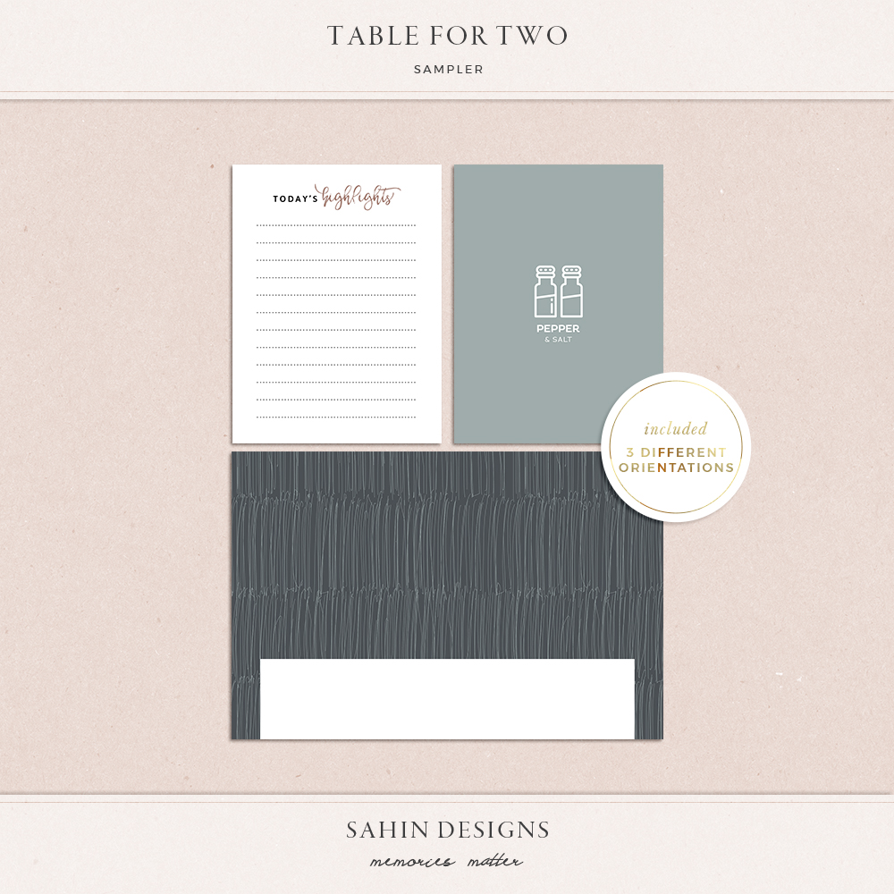 Table for Two Free Digital Scrapbook Kit | Sahin Designs | Pocket Cards