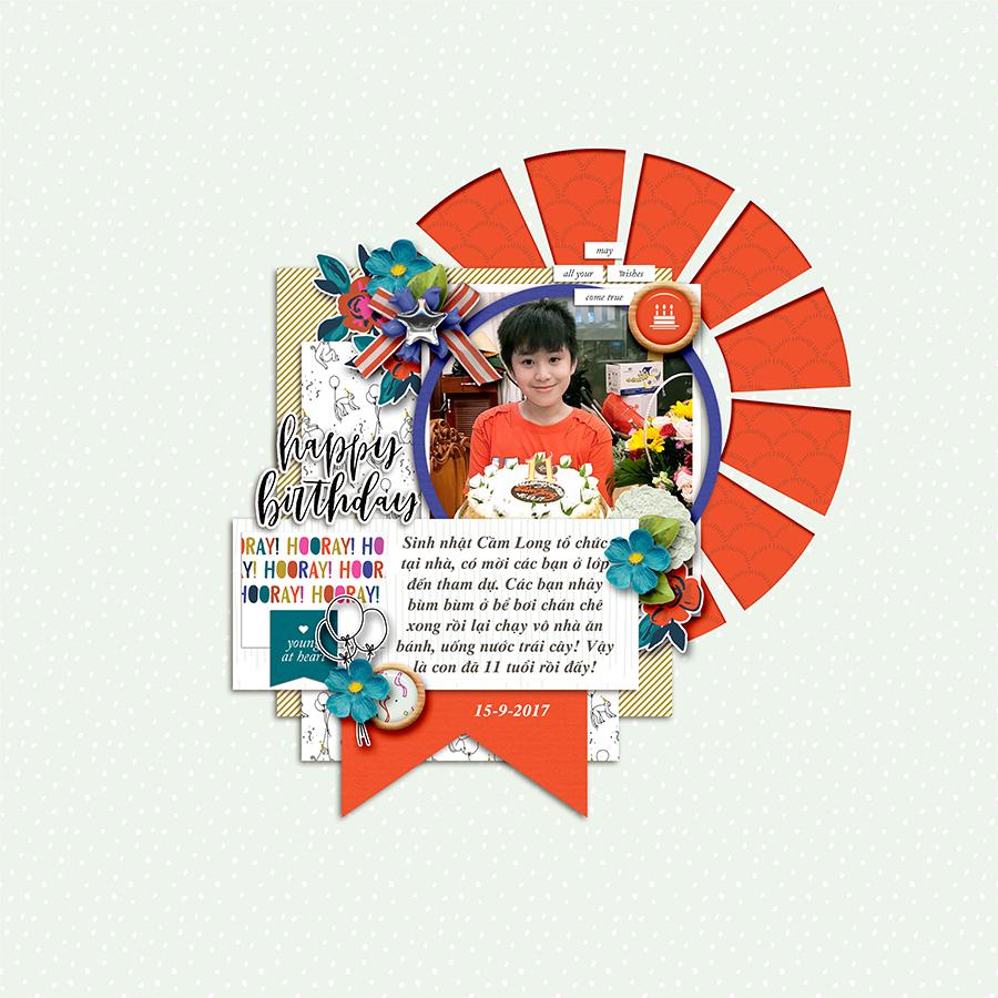 Birthday digital scrapbook layout - Sahin Designs