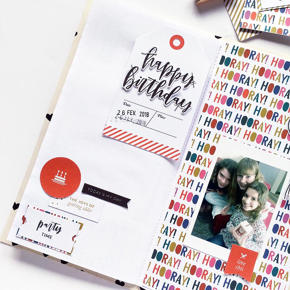 Birthday hybrid scrapbook layout - Sahin Designs