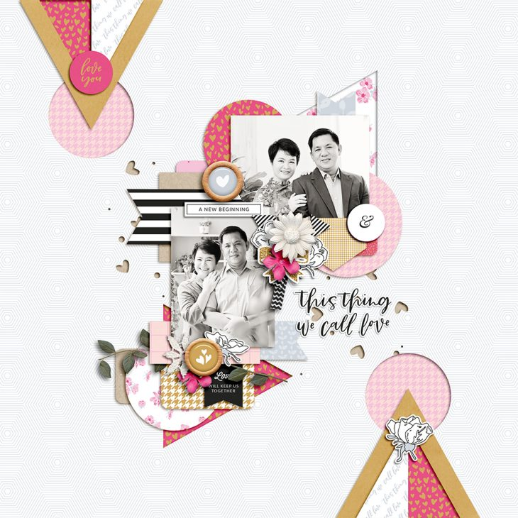 Wedding digital scrapbook layout - Sahin Designs