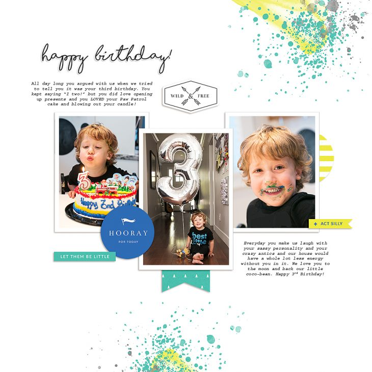 Boy digital scrapbook layout - Sahin Designs