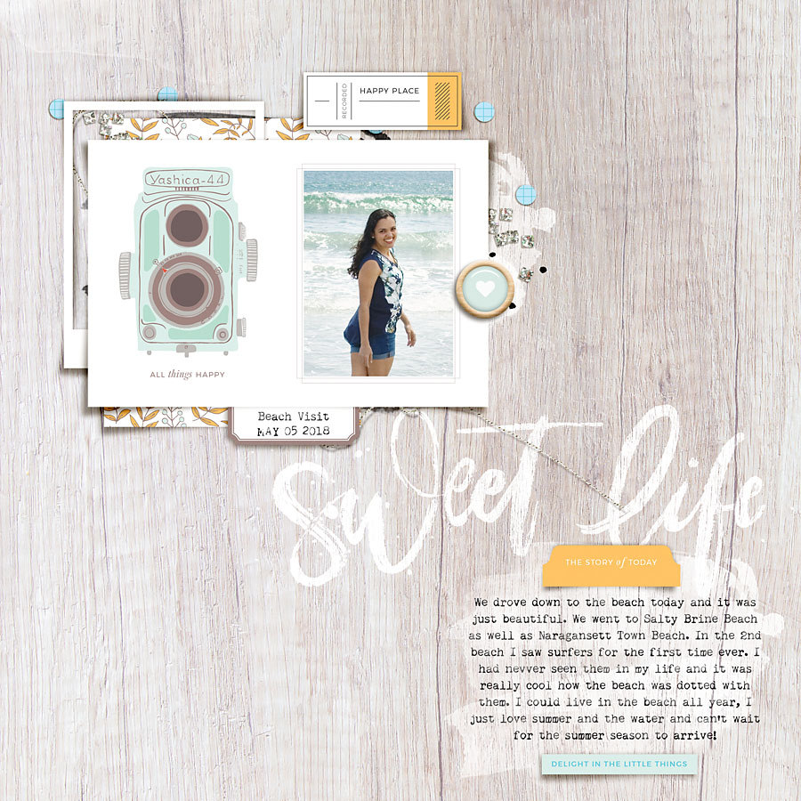 Beach digital scrapbook layout - Sahin Designs