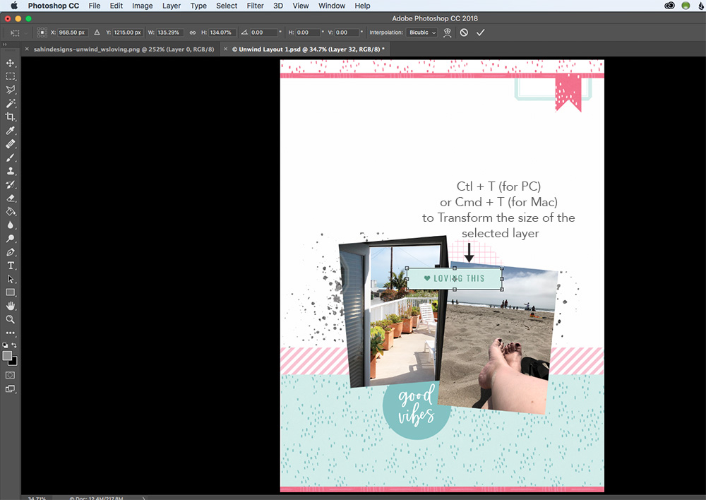 Top 5 favorite Photoshop shortcuts for scrapbooking - Sahin Designs