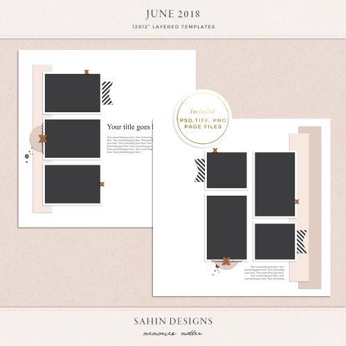 June 2018 Digital Scrapbook Layout Templates/Sketches - Sahin Designs