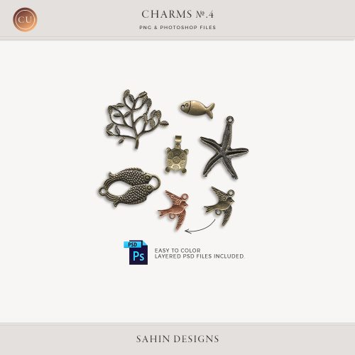 Charms No.4 - Sahin Designs - CU Digital Scrapbook - Extracted Charms