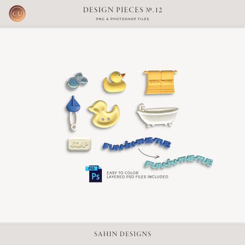 Design Pieces No.12 - Sahin Designs - CU Digital Scrapbook