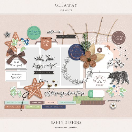Getaway Digital Scrapbook Elements - Sahin Designs