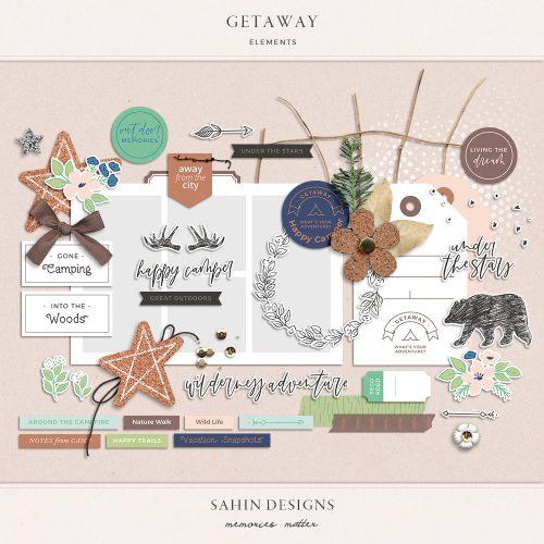 Getaway Digital Scrapbook Elements - Sahin Designs